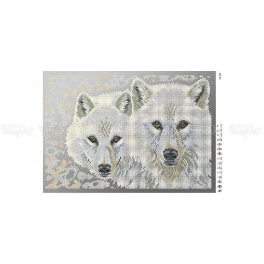 50-320 (30*40) Белые волки. Схема для вышивки бисером Бисерок