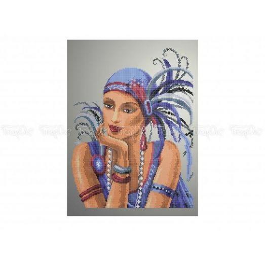 40-306 (30*40) Девушка. Схема для вышивки бисером Бисерок