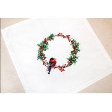 FM015 Набор для вышивки Салфетки Рождественский венок нитками. Luca-s
