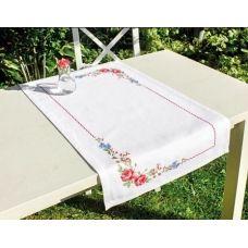 FM011 Набор для вышивки Салфетки Цветы шиповника нитками. Luca-s