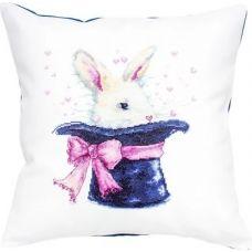 PB139 Кролик в шляпе. Набор для вышивки подушки нитками. Luca-s