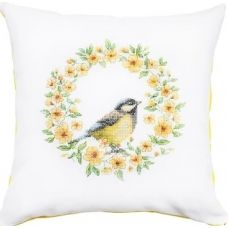 PB129 Птичка в цветах. Набор для вышивки подушки нитками. Luca-s