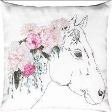 PB109 Конь в цветах. Набор для вышивки подушки нитками. Luca-s