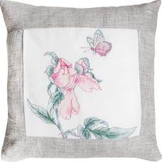 PB107 Бабочка и цветок (серый). Набор для вышивки подушки нитками. Luca-s