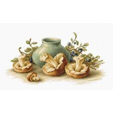 B2247 Натюрморт с грибами. Набор для вышивки нитками. Luca-s
