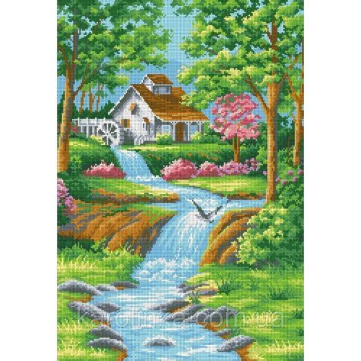 КБ-2026 Дом у реки. Схема для вышивки бисером ТМ Каролинка