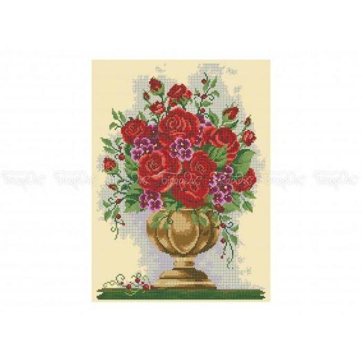 30-304 (30*40) Красные розы. Схема для вышивки бисером Бисерок