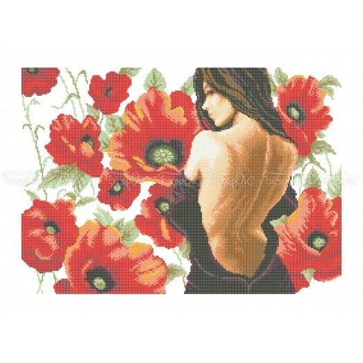 40-203 (40*60) Девушка в маках. Схема для вышивки бисером Бисерок