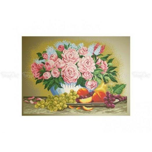 30-207 (40*60) Пионы и фрукты. Схема для вышивки бисером Бисерок
