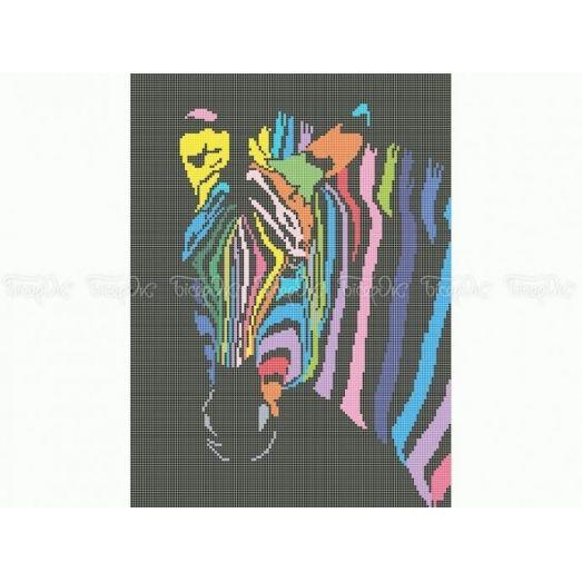 50-346 (30*40) Радужная зебра. Схема для вышивки бисером Бисерок