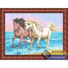 ФР-ЖБп2-013 Лошади бегущие по волнам. Схема для вышивки бисером ТМ Фурор