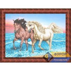 ФР-ЖБч2-014 Лошади бегущие по волнам. Схема для вышивки бисером ТМ Фурор