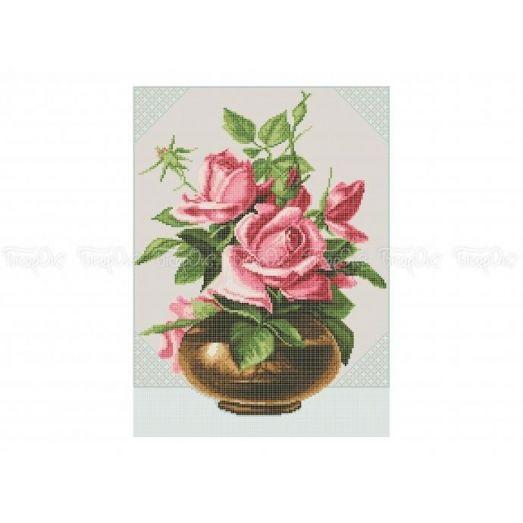 30-326 (30*40) Розовые розы. Схема для вышивки бисером Бисерок