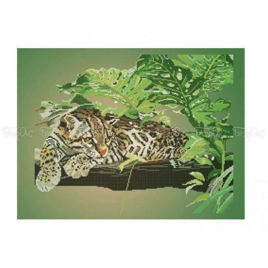50-214 (40*60) Дикая кошка. Схема для вышивки бисером Бисерок