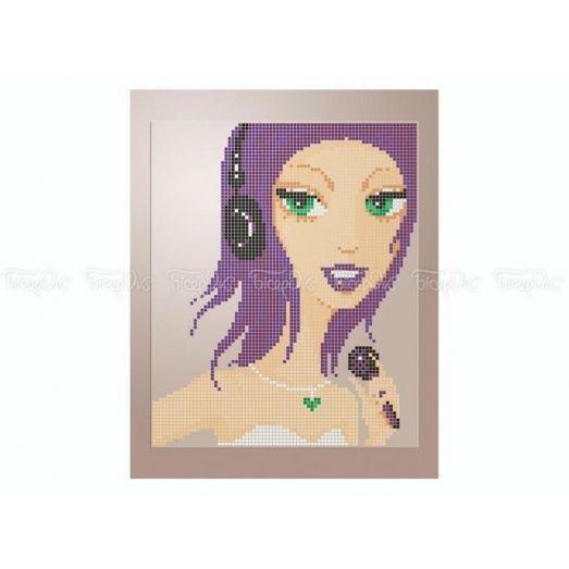 40-410 (20*25) Фиолетовые волосы. Схема для вышивки бисером Бисерок