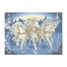 50-210 (40*60) Три белых коня. Схема для вышивки бисером Бисерок