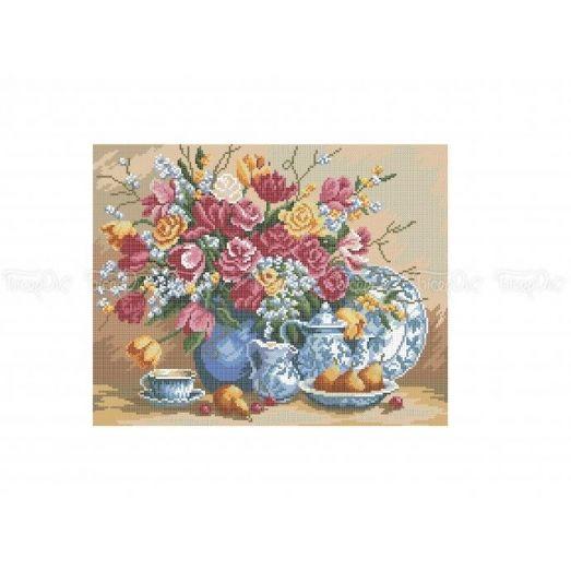 30-303 (30*40) Розы и тюльпаны. Схема для вышивки бисером Бисерок