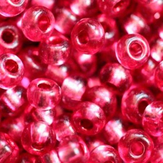 18298 Бисер Preciosa розовый с серебрянной серединкой прозрачный