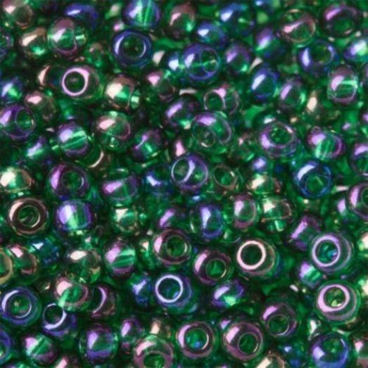 51060 Бисер Preciosa тёмно-зелёный радужный прозрачный