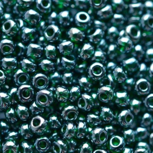 56150 Бисер Preciosa тёмно-зелёный прозрачный глазурь