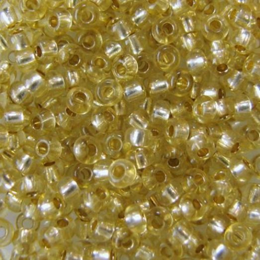 78151 Бисер Preciosa сольгель стеклянный грязно-жёлтый с серебрянным прокрасом