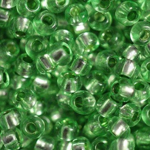 78161 Бисер Preciosa сольгель стеклянный зелёный с серебрянным прокрасом