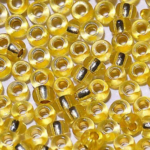 78181 Бисер Preciosa сольгель стеклянный жёлтый с серебрянным прокрасом
