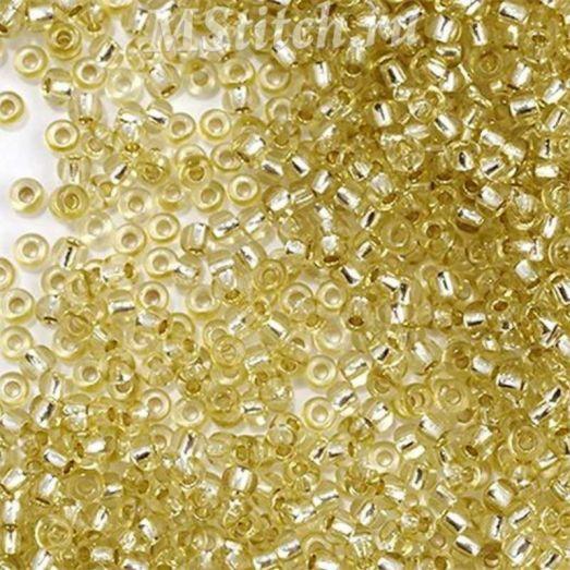 78251 Бисер Preciosa сольгель бледный стеклянный светло-соломенный с серебрянным прокрасом