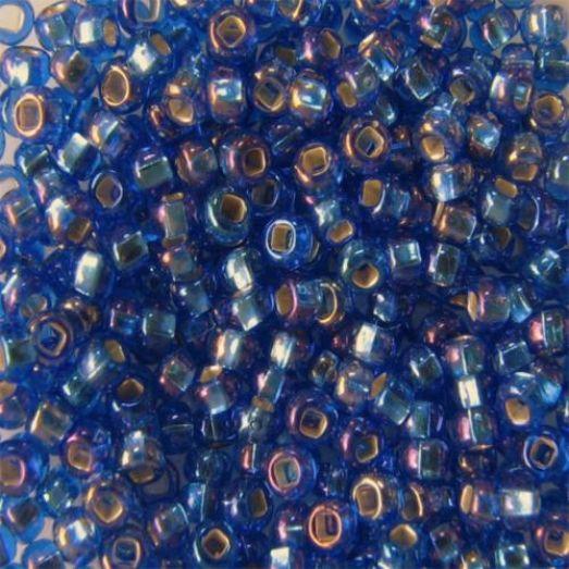 37059 Бисер Preciosa синий с серебрянной серединкой радужный прозрачный