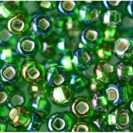 57129 Бисер Preciosa стеклянный с серебрянным прокрасом радужный зелёный