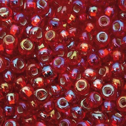 97079 Бисер Preciosa стеклянный радужный бордо с серебрянным прокрасом