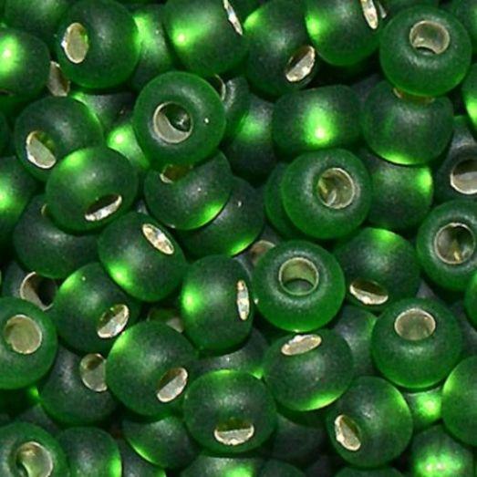 57120м Бисер Preciosa стеклянный зелёный матовый с серебрянным прокрасом