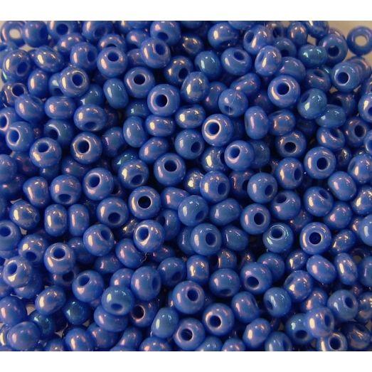 34040 Бисер не прозрачный синий глянец с переливом