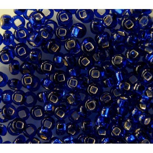 37100 Бисер прозрачный, синий, серебряная серединка.Квадратное отверстие