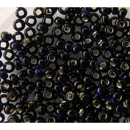 37110 Бисер прозрачный, тёмный синий, серебряная серединка