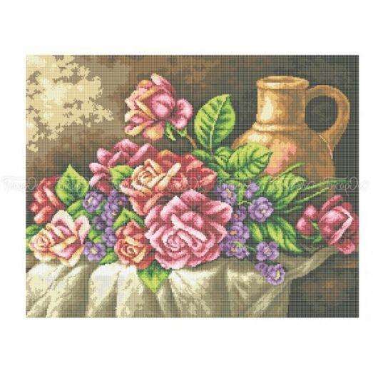 30-208 (40*60)  Натюрморт с розами. Схема для вышивки бисером Бисерок