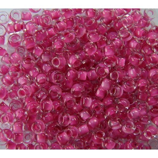 38325 Бисер прозрачный кристалл с цветной серединкой, темно-розовый