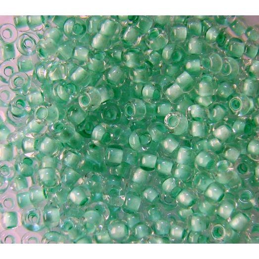 38352 Бисер прозрачный кристалл с цветной серединкой, салатовый.