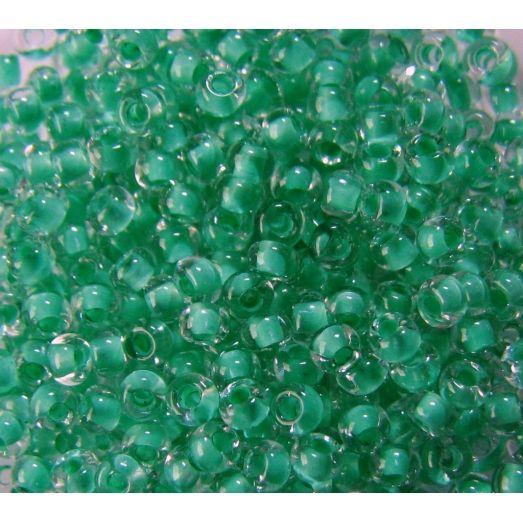 38356 Бисер прозрачный, зелёный внутренний окрас