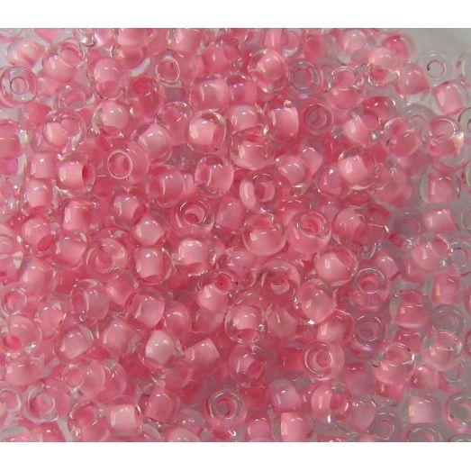 38394 Бисер прозрачный кристалл с цветной серединкой, светло-розовый