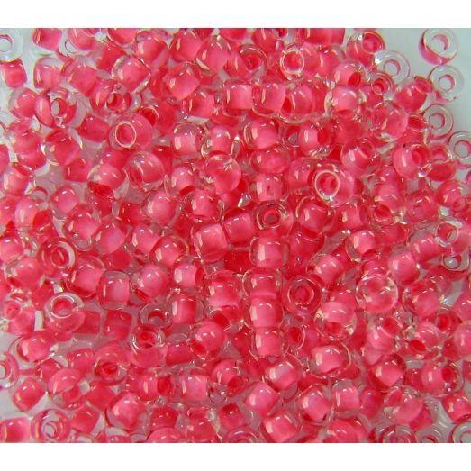 38398 Бисер прозрачный кристалл с цветной серединкой, красно-розовый