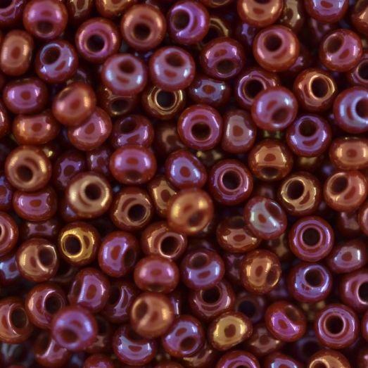 94300 Бисер Preciosa керамика медно-шоколадно-вишнёвый радужный