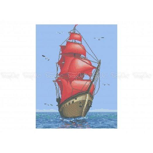 60-300 (30*40) Красные паруса. Схема для вышивки бисером Бисерок