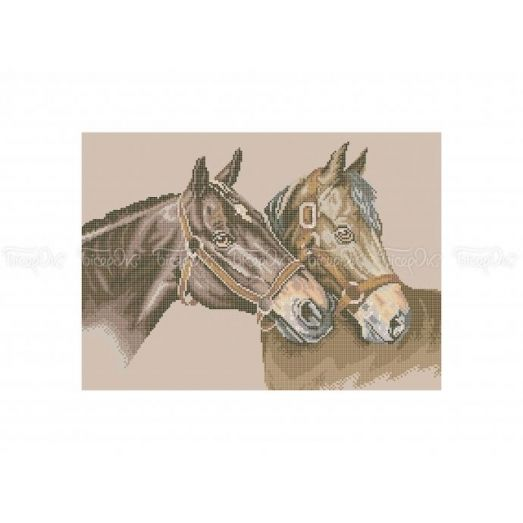 50-324 (30*40) Пара коней. Схема для вышивки бисером Бисерок