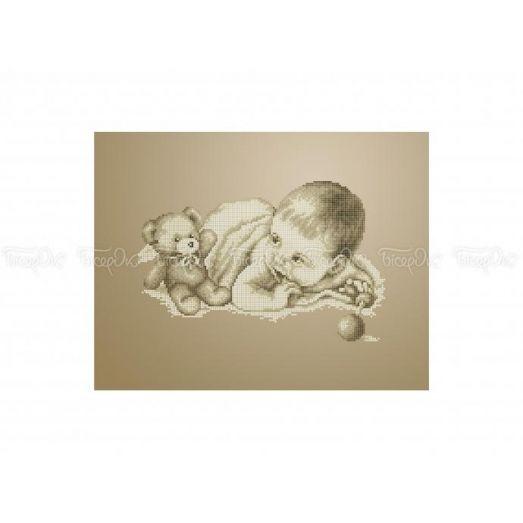 40-317 (30*40)  Играющий младенец. Схема для вышивки бисером Бисерок