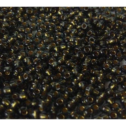 45014 Бисер Preciosa коричневый с золотой линией