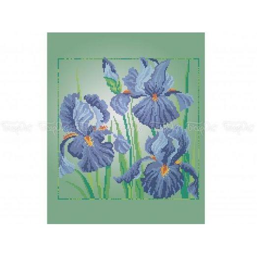 30-362 (30*40) Голубые петушки. Схема для вышивки бисером. Бисерок