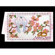 АОМ-012 Открытка-конверт. Свадебные птицы. Абрис Арт