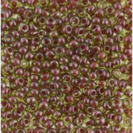 51228 Бисер Preciosa зеленый прозрачный коричневая линия внутри