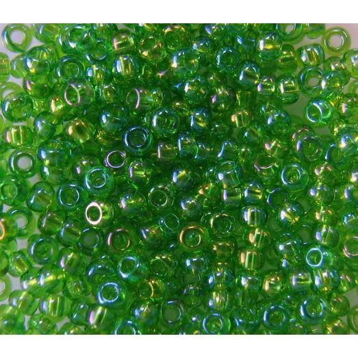 51430 Бисер прозрачный светло-зеленый с радужным блеском (бензин)